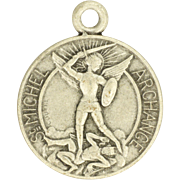 French  Art Deco St Michael Silver Plated Medal or Charm - Coutre