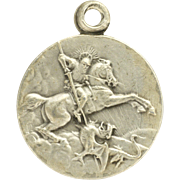 French St. George and Dragon Small  Silver Plated Medal or Charm