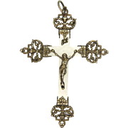 French Victorian Silver Gilt and Mother of Pearl Crucifix