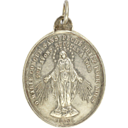 SOLD French Victorian Silver Virgin Mary  Miraculous Medal