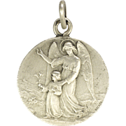 SOLD French 1918 Silver Guardian Angel Communion Medal Pendant - BECKER