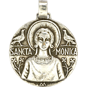 French Saint Monica Silver Plated Large Medal or Pendant