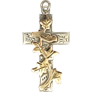 English Edwardian Silver Cross with 9k Gold - CHESTER 1907