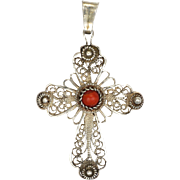 Scandinavian Silver Filigree and Coral Cabochon Cross Pendant