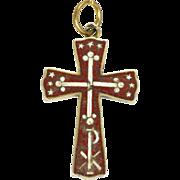 Victorian Italian Silver Micro-Mosaic Cross Pendant