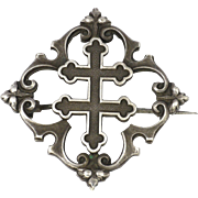 French Victorian Cross of Lorraine Silver Pin