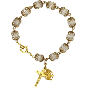 Cystal Quartz First Communion Bracelet - Gold Filled Charms