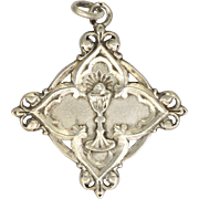French 19C Silver Communion Medal Pendant