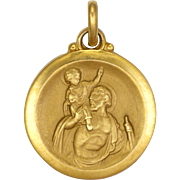 French St Chrstopher and Our Lady of Lourdes Double Sided Heavily Gold Plated Medal