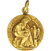SOLD French St John the Evangelist Gold Filled Medal or Charm - TSCHUDIN