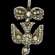 French Antique Silver Paste 'Saint Esprit' Bird Pendant