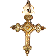 French Victorian Gold Filled 'Jeannette' Cross Pendant