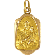 French 18K Gold Virgin and Child Jesus Double Sided Medal or Charm