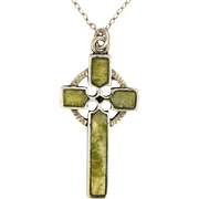 Celtic Sterling Silver and Connemara Marble Cross and Chain