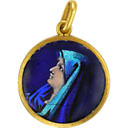 French Limoges 18K Gold Rimmed Painted Enamel Mary Pendant or Charm