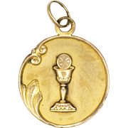 French Art Nouveau Gold Filled Communion Medal or Pendant - FIX
