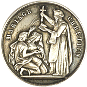 French Victorian Small Silver Marriage Medal -1862