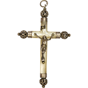 Victorian French Silver and Mother of Pearl Crucifix