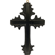 Victorian Large Whitby Jet Cross