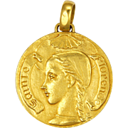 French Saint Florence Large Gold Plated Medal Pendant