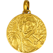 French Saint Sylvia Large Gold Plated Medal
