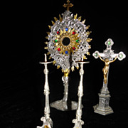 SALE Rare Antique French Jeweled Doll House Monstrance, Cross and Candle Sticks