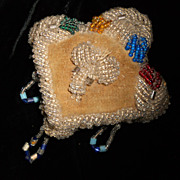 SALE Antique Iroquois Indian Trade Glass Beaded Heart  Pin Cushion