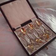 SALE Antique French Silver Ornate Cherub Design Spoon Set - not monogrammed