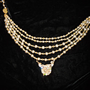 Miriam Haskell 5 Strand Faux Pearl Necklace with Snake Pendant
