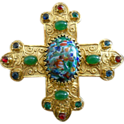 Accessocraft Gold Plated Regal Faux Gem Cross Pendant/Pin