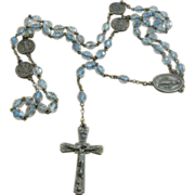 Art Deco Reverse Painted Crystal Relic Rosary
