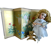 Vintage Hand Painted Floral Gold Foil Doll Screen
