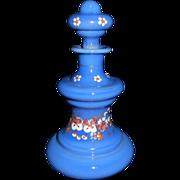 SALE Antique Bohemian Persian or French Blue Enamel Perfume Bottle