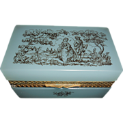 SALE Murano Fratelli Ferro Pale Blue Opaline Hinged Box with Romantic Painted scene