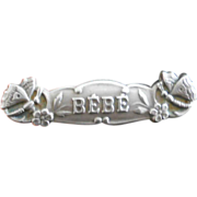Victorian Sterling Bebe Pin with Butterfly Design