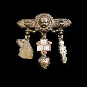 Best Vintage Enamel Repousse Bebe Pin