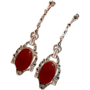 Art Deco Sterling with Rock Crystal, Carnelian and Marcasite Long Drop Earrings