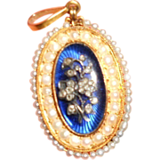 SALE Georgian Blue Bristol Glass, Diamond and Gold Giardinetti Pendant