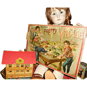 """McLoughlin Bros """"The New Pretty Village"""" Paper Lithograph Boathouse Miniature House"""