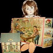 "McLoughlin Bros ""The New Pretty Village"" Paper Lithograph Miniature Victorian House"