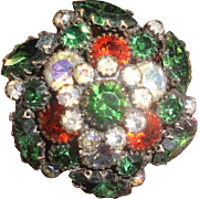 Lovely Vintage Autumn Colors Layered Crystal Brooch