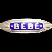 Art Deco Blue Enamel BeBe Pin