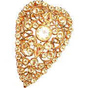 Hobe Crystal Wire Work Elongated Heart Brooch, c. 1940s