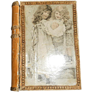SALE PENDING Small French Victorian Children Lithograph Paper Box with Mirror, c 1860