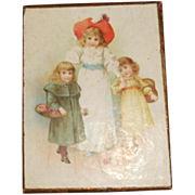 SALE PENDING Antique Darling French Lithograph Box of Children, circa 1800s