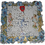 Lovely Antique Dresden paper lace, Die-cut of Cherubs, Shell and Heart Valentine Day Card