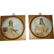 Pair of Georgian Reverse Painted Prints - Portraits of Ladies