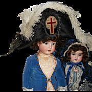 Antique Napoleonic Fashion Costume Plumes Hat
