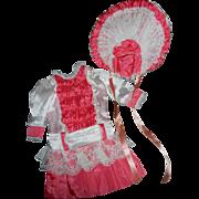 Vintage Pink & White Silk Drop Waist Doll Dress with Bonnet