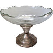 REDUCED Revere Silversmiths Glass Compote with Sterling Silver Base